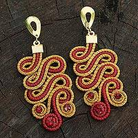 Golden grass dangle earrings, 'Red Majesty' - Artisan Crafted Red Polyester and Golden Grass Earrings