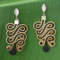Golden grass dangle earrings, 'Black Majesty' - Hand Crafted Black Polyester and Golden Grass Earrings