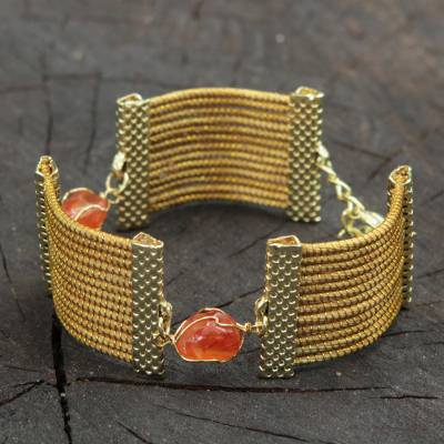 Golden grass and agate wristband bracelet, 'Eco Guard' - Golden Grass and Brown Agate Handcrafted Wristband Bracelet