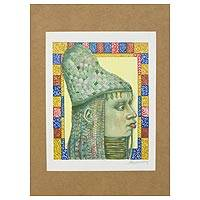 'Woman from Benin' - Multi-colored Gravure Print of Woman from Benin