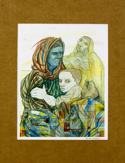 'Exodus of Tutsi Family' - Brazilian Colorful Gravure Print of Tutsi Family in Acrylic
