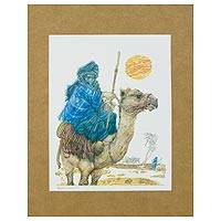 'Tuareg Man and His Camel' - Signed Gravure Print of Man and Camel from Brazil