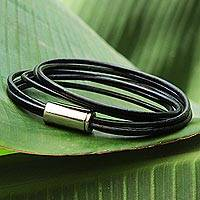 Leather wrap bracelet, 'Metallic Unity' - Hand Crafted Leather and Steel Bracelet from Brazil