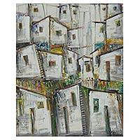 'Happy Community' - Signed Original Acrylic Painting of Brazilian Favela