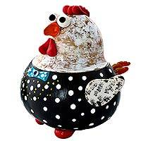 Gourd box, 'Happy Little Hen' - Decorative Dried Gourd Spotted Chicken Box from Brazil
