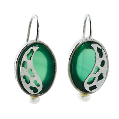 Brazil Green Agate and Pearl Sterling Silver Drop Earrings