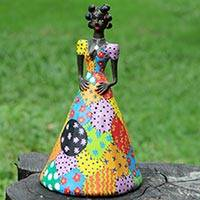 Upcycled sculpture, 'Catarina' - Collectible Brazilian Doll Upcycled Sawdust Sculpture