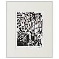 'Madame Bovary' - Brazilian Wood Cut Print of Madame Bovary Scene