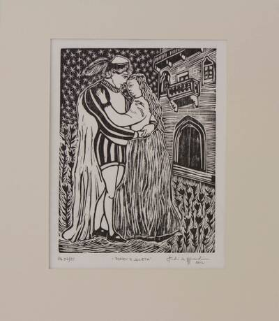 'Romeo and Juliet' - Surreal Brazilian Xilogravure Print of Romeo and Juliet