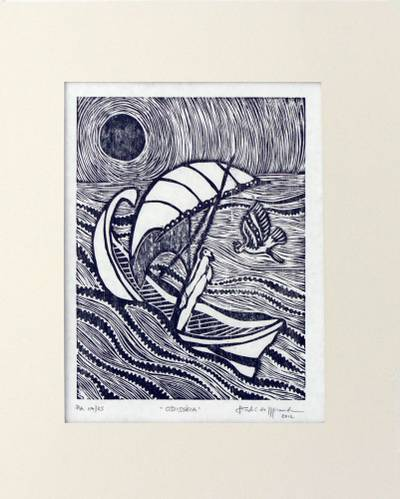 'Odyssey' - Surreal Brazilian Woodcut Print in Black and White