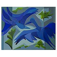 'The Blue Birds' - Original Acrylic Painting of Birds on Canvas from Brazil