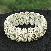 Howlite stretch bracelet, 'Elegant Earth' - Artisan Crafted Howlite Stretch Bracelet from Brazil
