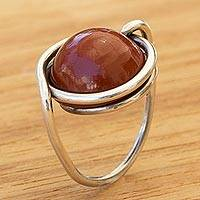 Jasper cocktail ring, 'The Mother' - Artisan Crafted Jasper and Sterling Silver Cocktail Ring