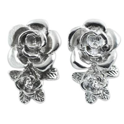 Hand Crafted Sterling Silver Rose Button Earrings