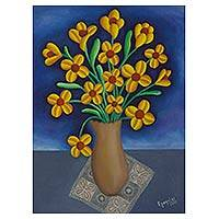'Well-wishing Bouquet' - Oil Painting on Canvas of Flower Vase with Yellow Flowers