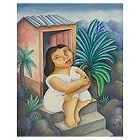 'Girl in the Doorway' (1999) - Brazilian Fantasy Portrait of a Girl in Oil on Canvas
