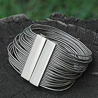 Leather and stainless steel wristband bracelet, 'Rio Glam' - Dramatic Brazilian Silver Leather Wristband Bracelet
