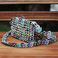 Recycled pop-top shoulder bag, 'Mini Rainbow Light' - Artisan Crafted Multi Color Shoulder Bag with Soda Pop Tops