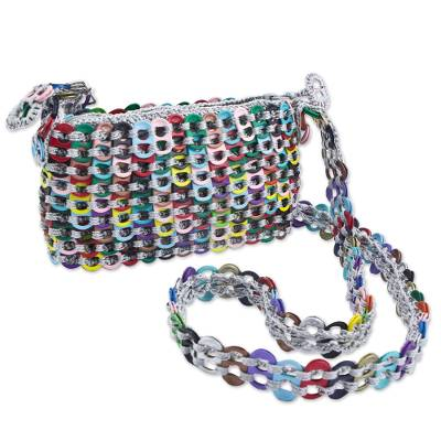 Artisan Crafted Multi Color Shoulder Bag with Soda Pop Tops