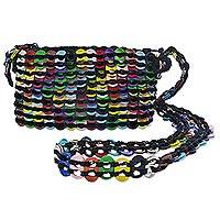 Recycled pop-top shoulder bag, 'Rainbow Bright' - Handmade Recycled Pop-Top Shoulder Bag from Brazil