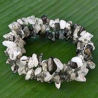 Quartz and tourmaline stretch bracelet,