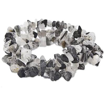 Handmade Quartz and Tourmaline Stretch Bracelet (Set of 3)