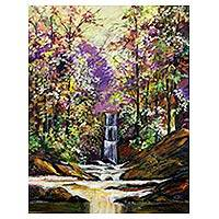 'Waterfall' - Brazilian Acrylic Painting on Canvas of Waterfall