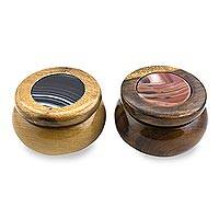 Agate and wood decorative boxes, 'Coffee' (pair) - Hand Crafted Cedar Wood and Agate Decorative Boxes (Pair)