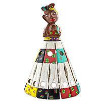 Wood decorative doll, 'Joaquina' - Artisan Crafted Colorful Decorative Wood Doll from Brazil