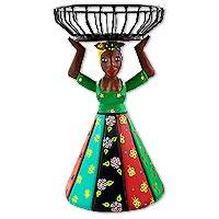Wood decorative doll, 'Severina' - Brazilian Artisan Crafted Decorative Wood Doll with Basket