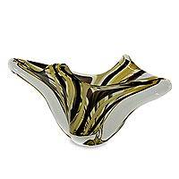 Hand blown art glass vase, 'Earthy Ribbons' - Artisan Crafted Murano-Inspired Art Glass Vase from Brazil