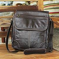 Leather satchel, 'Intrepid in Dark Brown' - Unisex Satchel in Dark Brown Quality Leather from Brazil