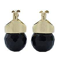 Gold plated onyx drop earrings,