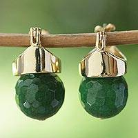 Gold plated agate drop earrings, 'Green Acorn' - Green Agate Drop Earrings Bathed in 18k Gold from Brazil