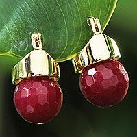 Gold plated ruby drop earrings,
