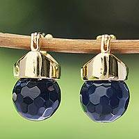 Gold plated quartz drop earrings, 'Dark Blue Acorn' - Dark Blue Quartz and 18k Gold Plated Drop Earrings