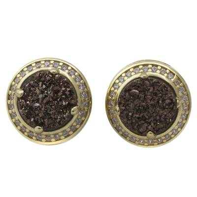 Handcrafted Gold Plated Bronze Tone Brazilian Drusy Earrings