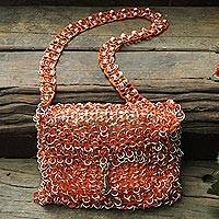 Soda pop-top shoulder bag, 'Shimmery Orange' - Hand Crafted Evening Bag with Shimmery Orange Soda Pop Tops