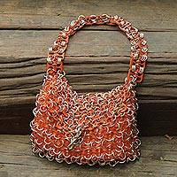 Soda pop-top bag, 'Mini-Shimmery Orange' - Hand Crafted Evening Bag with Shimmery Orange Soda Pop Tops