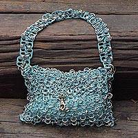 Soda pop-top bag, 'Mini-Shimmery Blue' - Artisan Crafted Evening Bag with Shimmery Blue Soda Pop Tops