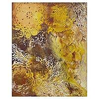 'Meteors' (2013) - Original Brazil Abstract Painting in Yellow and Earth Tones