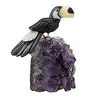 Gemstone sculpture, 'Brazilian Toucan' - Original Brazilian Toucan Gemstone Bird Sculpture