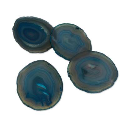 Natural Color Blue Agate Coasters (Set of 4) from Brazil