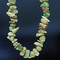 Chrysoprase beaded long necklace, 'Amazon Sunshine' - Brazil Artisan Crafted 34-Inch Beaded Chrysoprase  Necklace