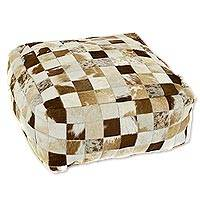 Cowhide ottoman cover, 'Earth Tone Checkerboard' - Brazilian Handcrafted Brown Cowhide Patchwork Ottoman Cover