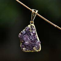Gold plated amethyst pendant, 'Magnificent Purple' - Brazilian Uncut Amethyst Pendant Bathed in 18k Gold