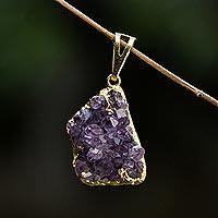Amethyst pendant, 'Magnificent Purple' - Brazilian Uncut Amethyst Crystal Pendant
