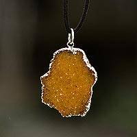 Sterling silver plated drusy citrine pendant necklace, 'Pathway of the Sun' - Freeform Drusy Citrine Pendant Necklace and Leather Cord