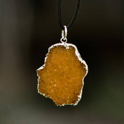 Drusy citrine pendant necklace, 'Pathway of the Sun' - Freeform Drusy Citrine Pendant Necklace and Suede Cord