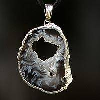 Agate long pendant necklace, 'Into the Realm' - Artisan Crafted Freeform Brazilian Agate Pendant Necklace